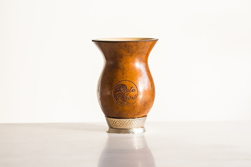 Handcrafted Brazilian Cuia Yerba Mate Gourd with Stamped Design Metal Base